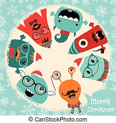 Hipster Retro Freaky Monsters Christmas Card Design -...