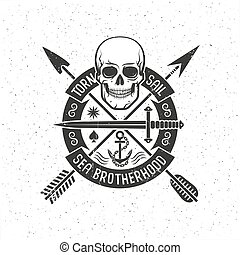 Hipster retro logo with a pirate skull