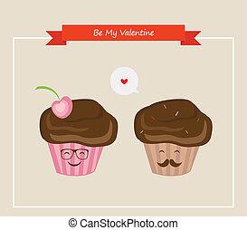 hipster retro muffins , happy Valentines
