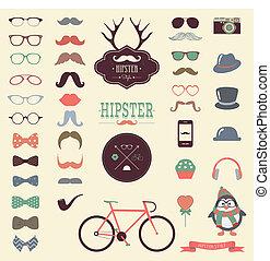 hipster, retro, ouderwetse , pictogram, set