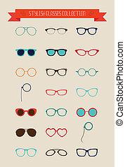 hipster, retro, rocznik wina, okulary, ikona, komplet