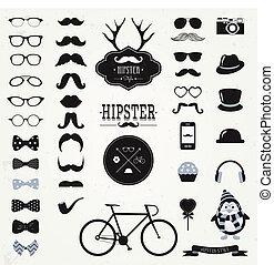 hipster, retro, vendange, icône, ensemble