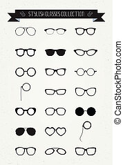 hipster, retro, vendemmia, occhiali, icona, set