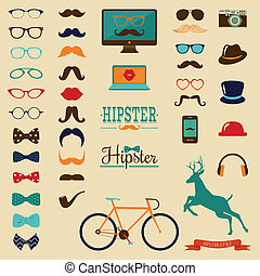 Hipster Retro Vintage Icon Set - Hipster Colorful Retro...