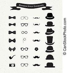 Hipster Retro Vintage Icon Set - Hipster Retro Vintage...