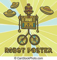 Hipster robot design - Hipster robot retro fashion humanoid...