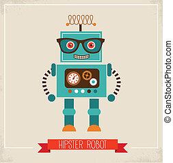 hipster, robot, jouet, icône