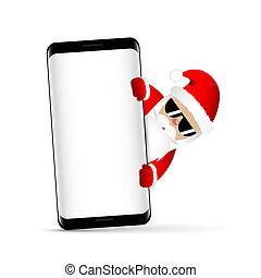 hipster, santa claus, met, koel, baard, en, zonnebrillen, achter, smartphone