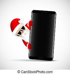 Hipster Santa Claus with cool beard and sunglasses behind black smartphone