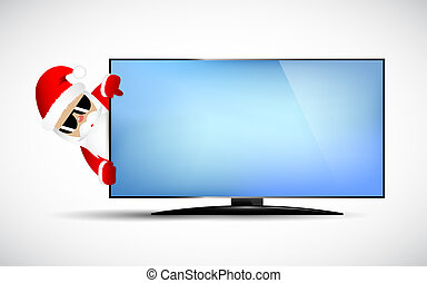 Hipster Santa Claus with cool beard and sunglasses behind TV