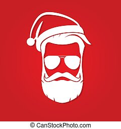 Hipster Santa Claus with cool beard and sunglasses. Vector illustration.