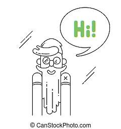 "Hipster says ""Hi!""."