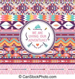 Hipster seamless colorful  tribal pattern