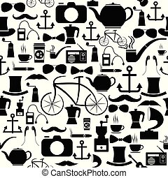 hipster seamless pattern background icon.