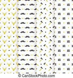 hipster seamless pattern collection