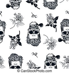 Hipster seamless pattern with skulls silhouettes, flowers roses. Sculls in vintage engraving style. Mustache, beard, tobacco pipes. Black and white Vector illustration.