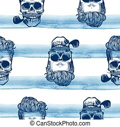 Hipster seamless pattern with skulls silhouettes watercolor stripes at the background. Skull silhouette in engraving style  mustache, beard, tobacco pipes. Vector illustration.