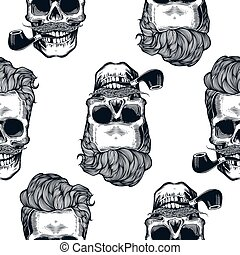 Hipster seamless pattern with skulls silhouettes. Skull silhouette in engraving style mustache, beard, tobacco pipes. Vector illustration.