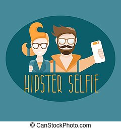 hipster selfie concept vector flat design illustration
