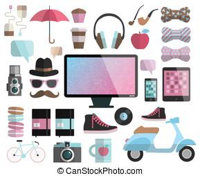 hipster, set., éléments, conception