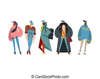 hipster, set., modny, facet, z, beard., fashion-monger