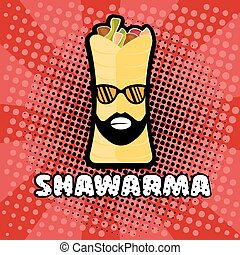 hipster shawarma with sunglasses in pop art style