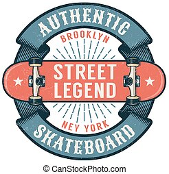 Hipster skateboarding logo with round ribbon and inverted skateboard