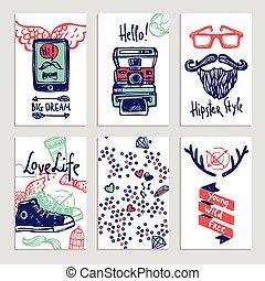 Hipster Sketch Banner Set