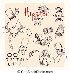 Hipster sketch set - Hipster character pack sketch set with...