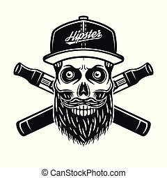 Hipster skull and crossed electronic cigarettes
