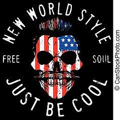 Hipster skull illustration with usa flag