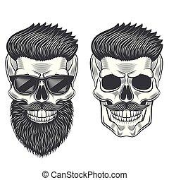 Hipster skull monochrome isolated on white vector illustration