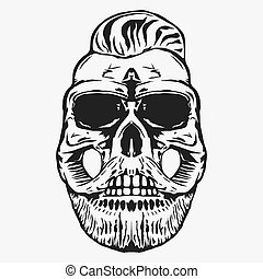 hipster skull with beard and mustache. vector - skull with...