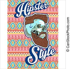 hipster skull with beard and mustache.eps