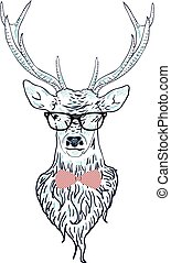 Illustration of a deer hipster in glasses, hand drawn style.