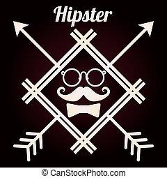 hipster, stile, disegno