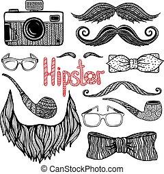 hipster, stile, set, accessori, capelli, icone