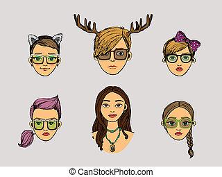 hipster, stile, teste, ragazze