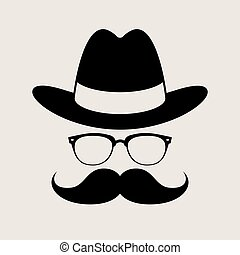 Hipster style element, glasses ,Hat and mustaches.
