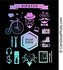 Hipster style elements, icons and labels