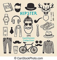 Hipster style elements set of male character. Hand drawn funky elements for your design project