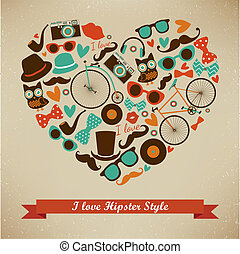 hipster, style, ensemble, amour, icône