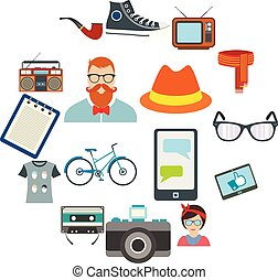 Hipster style flat icons set