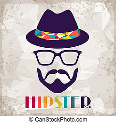 hipster, style., fondo, retro