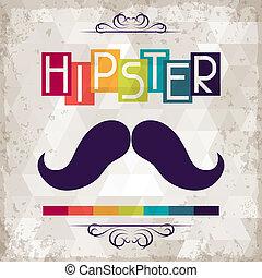 hipster, style., fundo, retro