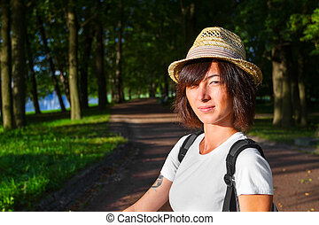 Hipster style girl in the park