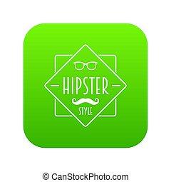 hipster, style, hommes, vert, icône