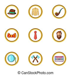 Hipster style icon set, cartoon style