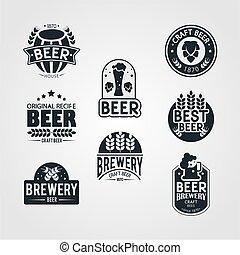 hipster style of beer vintage logo set