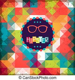 hipster, style., tło, retro
